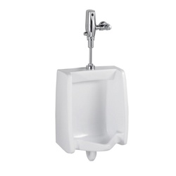 American Standard 6515001.020 Washbrook™ FloWise® Universal Urinal, Elongated Bowl, 0.125/1 gpf Flush Rate, Rear Spud, Wall Mount, White, Import