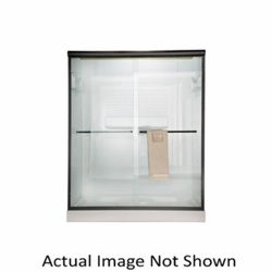 American Standard AM00390400.006T3 Sliding Shower Door, Euro, Frameless Frame, Clear Tempered Glass, Brushed Nickel, 1/4 in THK Glass, 56 to 60 in W Opening, Domestic